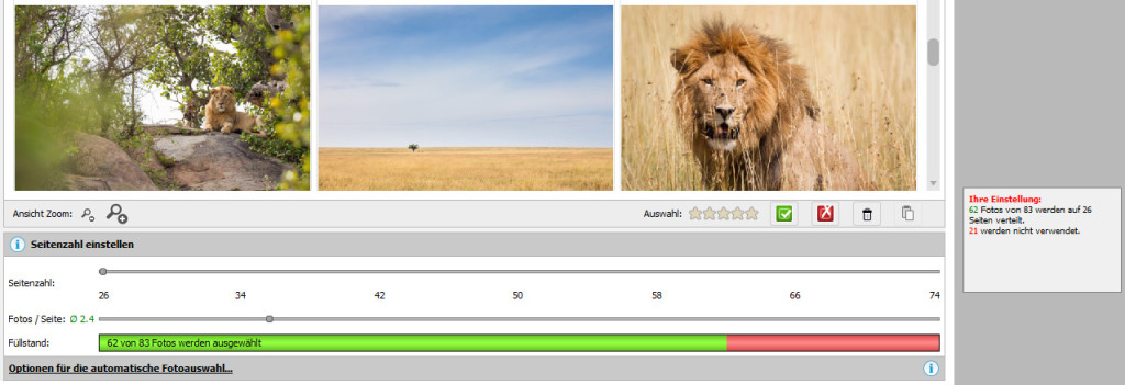 Pixum Fotobuch Software: Bilder pro Seite einstellen