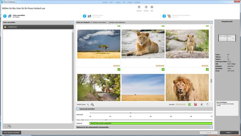 Pixum Fotobuch Software: Foto-Import