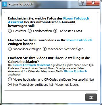 Pixum Fotobuch Software: Optionen für die Fotoselektion