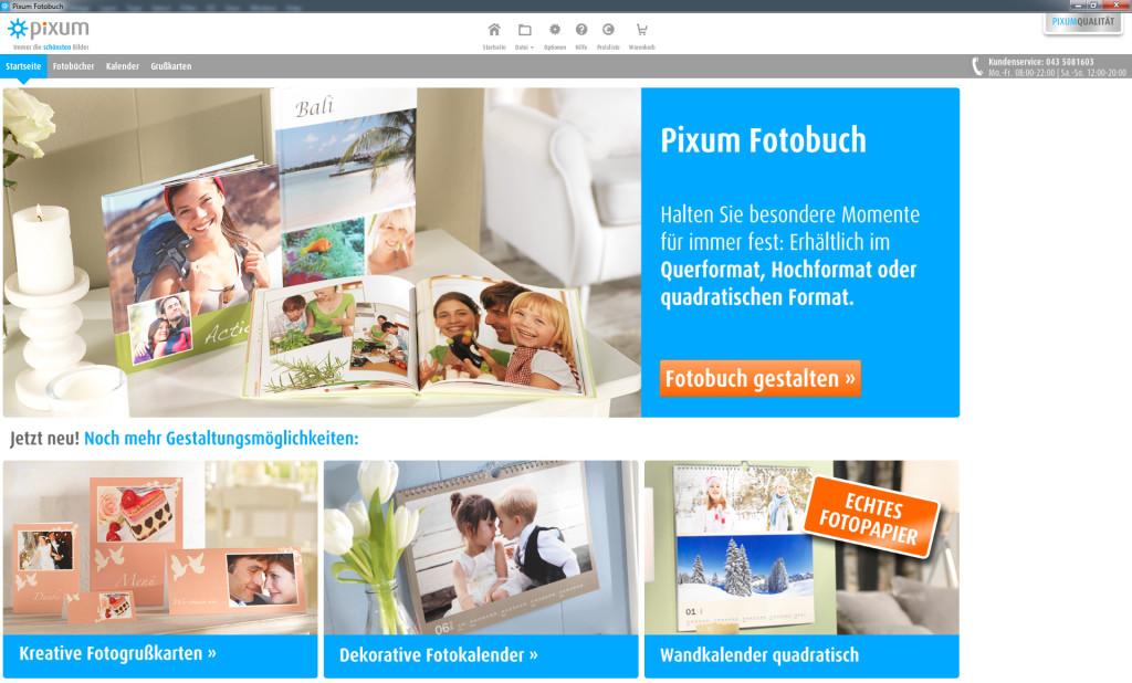 Pixum Fotobuch Software: Startseite