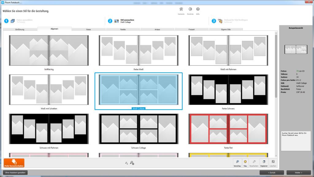 Pixum Fotobuch Software: Stil auswählen