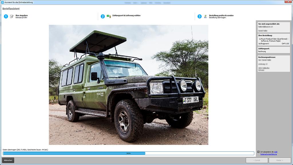 Pixum Fotobuch Software: Upload des Fotobuch-Projekts und der Bilddaten