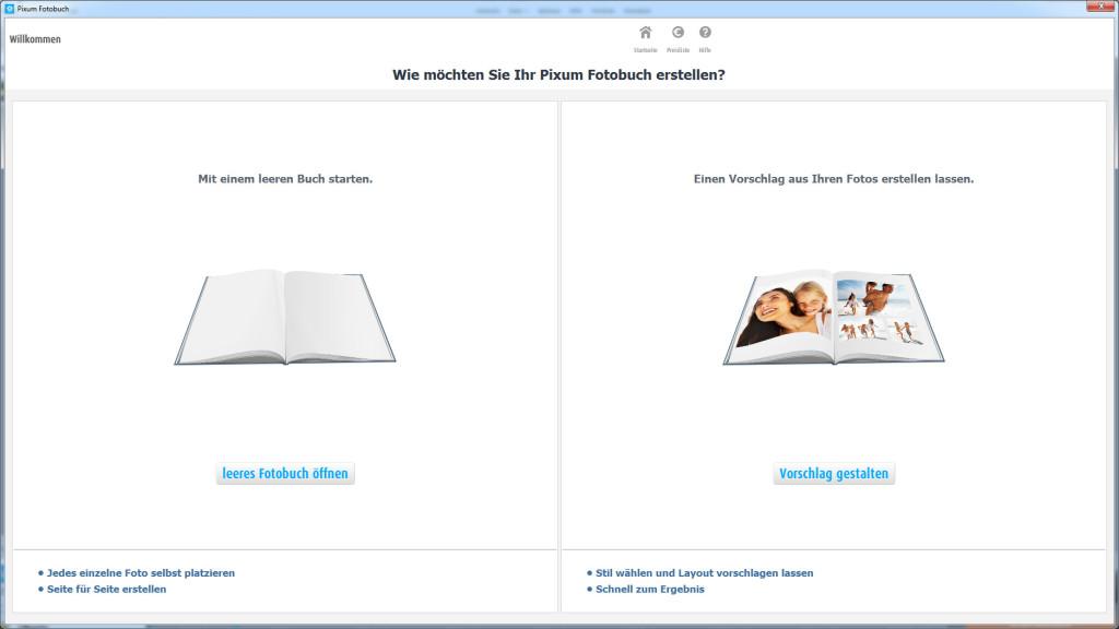 Pixum Fotobuch Software: Leeres Fotobuch oder Vorschlag gestalten
