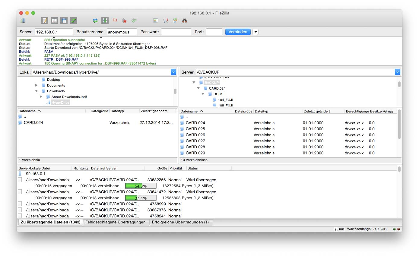 FileZilla for MAC, Screenshot, light-phenomenon.com, Daniel Haller