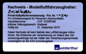 Nachweis Modellluftfahrzeughalter, Privat-Haftpflichtversicherung, AXA Winterthur Versicherung, light-phenomenon.com
