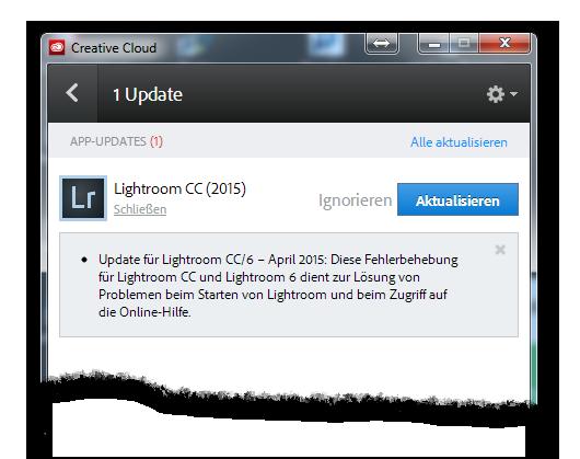Adobe Creative Cloud: Update for Lightroom CC / 6 should fix start problems - light-phenomenon.com, Daniel Haller