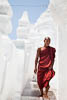 Monk, Hsinbyume Pagoda, Mingun, Sagaing Region, Myanmar, Southeast Asia, Copyright (c) Daniel Haller - light-phenomenon.com. All rights reserved.