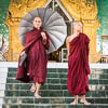 Monk with umbrella, Sandamuni Pagoda, Mandalay, Mandalay Region, Myanmar, Southeast Asia, Copyright (c) Daniel Haller - light-phenomenon.com. All rights reserved.