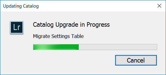 Screenshot: Adobe LR Classic CC Catalog Upgrade stuck