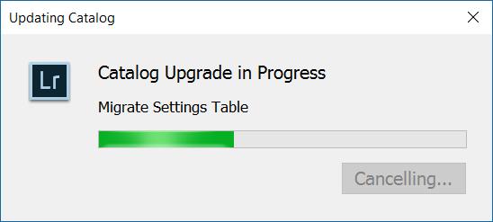 Screenshot: Adobe LR Classic CC Catalog Upgrade stuck, Cancelling freezes