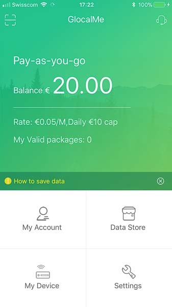 Der Internet-Anbieter GlocalMe bietet als Grundangebot in über 100 Ländern weltweit Pay-as-you-go Internet-Zugang (ohne zusätzliche Datenpakete) für 0.05 Euro/MB und maximal 10 Euro pro Tag.