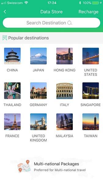 Der Suchbildschirm für Datenpakete je Land oder für ganze Länderpakete