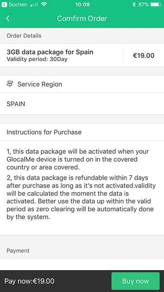 Für Spanien ist beispielsweise ein 3GB Datenpaket mit einer Gültigkeit von 30 Tagen für 19 Euro erhätlich. Bei der Swisscom würde mich dasselbe Datenpaket happige CHF 69.90 kosten!
