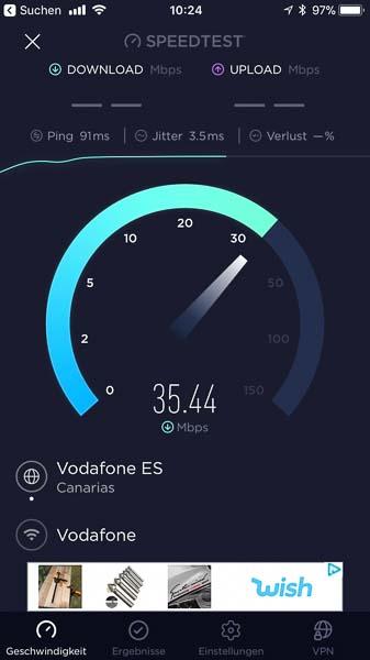 Download-Speedtest auf Lanzarote