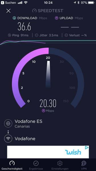 Upload-Speedtest auf Lanzarote