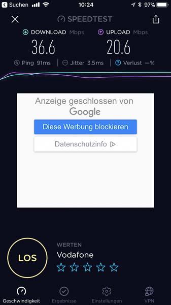 Ein Speedtest auf der Kanareninsel Lanzarote via den GlocalMe Hotspot zeigt 36.6 Mbps Download und 20.6 Mbps für den Upload. Die Geschwindigkeit hängt natürlich vom Mobilfunkbetreiber im jeweiligen Land ab.